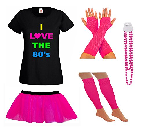 LADIES NEON 80S TSHIRT FANCY DRESS WITH TUTU