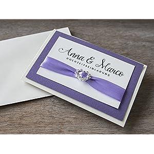 10 Stück Einladungen Karte Hochzeit Strass lila