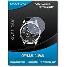 "2 x SWIDO® Protector de pantalla Samsung Gear S3 classic Protectores de pantalla de película ""CrystalClear"" invisible"