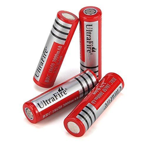 Galleria fotografica UltraFire Batteria 18650 Ricaricabile Litio 3.7V 2800mAh(Max),Pila Recargable Litio 18650 Batteria Piatta (4 Pezzi)
