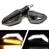 FEZZ Intermitentes Moto LED Lámparas Luces de Dirección Señales Ámbar Luz de Freno Marcha Diurna Blanco Universal Motocicleta DC 12V para Yamaha R1 R6 FZ XT WR TW TT-R (paquete de 2)
