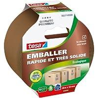 Tesa Emballer Adhésif de Fermeture PP Rapide et très Solide Ecologique Marron 40m x 50mm