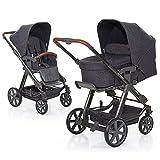ABC Design Kombi-Kinderwagen Set Turbo 4 - inkl. 3in1 Tragewanne für Neugeborene, Liegefunktion, ausklappbarem Sonnenverdeck, Schieber höhenverstellbar, Sitz drehbar, große Räder - Street