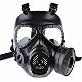 Enshey Masque à gaz CS - Tactique de jeu Airsoft visage Sécurité Masque Garde...