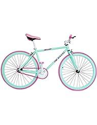 """Wizard Industry Helliot Soho 5304 - Bicicleta fixie, cuadro de acero, frenos V-Brake, horquilla acero y ruedas de 26"""", color verde menta"""