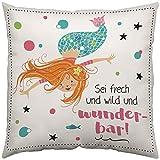 Gruss und Co 45636 Zierkissen Meerjungfrau Fräulein Meer, Baumwolle, Mehrfarbig, 40 x 40 cm, Geschenk Mädchen