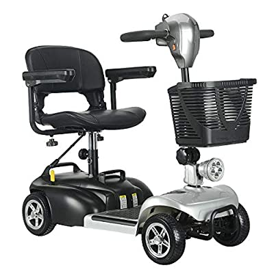 SSCJ 4mph Portable Travel Car Boot Mobility Scooter Travel Car Boot Scooter 4 Wheel Portable Mobility Scooter 180W Batteries