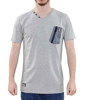 New men rawcraft v neck style button premium quality chest for Men s v neck pocket tee shirts