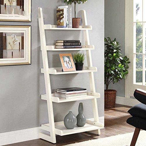 GRY American Style Massivholz Bücherregal Regal Landung einfach gegen die Wand Wohnzimmer Trapez kreative Rahmen,Weiß (American Bücherregal)