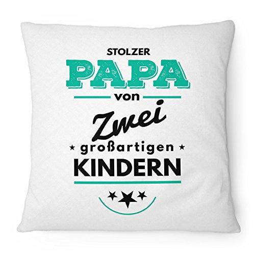 Fashionalarm Kissen Stolzer Papa von 2 Kindern - 40x40 cm mit Füllung | Geburtstag Geschenk Idee für Väter Vater Vatertag Geburt Baby Zwillinge, Farbe:weiß