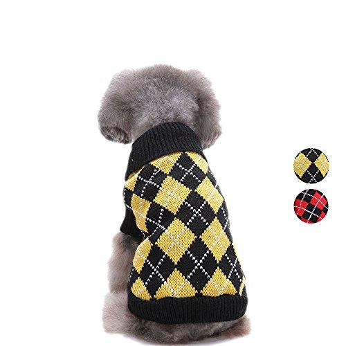Chic Argyle All Over Hundepullover, Gelb Schwarz Argyle Hundebekleidung stricken Pullover Bekleidung für für Teddy, Mops, Chihuahua, Shih Tzu, Yorkshire Terrier, Papillon von HongYH (Pyjama Stricken Grau)
