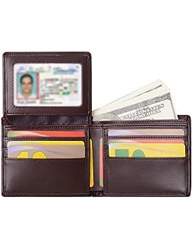 Billetera para hombre Sailinna Carteras Inhibidora de RFID con tarjetero de cuero auténtico con compartimento...