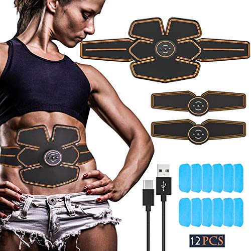 Echoice Electroestimulador Muscular Abdominales USB Recargable Masajeador Eléctrico Cinturón EMS Trainer para Abdomen Brazo Piernas, con 12 Gel Hojas