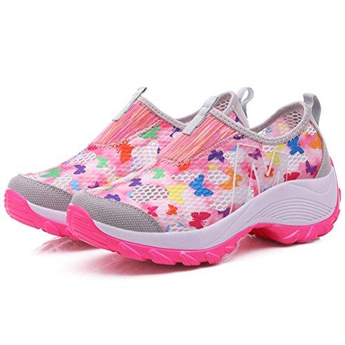 Damen Sommer Slip On Mesh Atmungsaktive Blumen Kurzschaft Sportliche Tanzschuhe Sneakers Pink