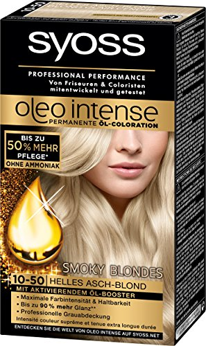 Syoss Oleo Intense Coloration 10-50 Helles Asch-Blond Smoky Blondes, 3er Pack (3 x 115 ml)