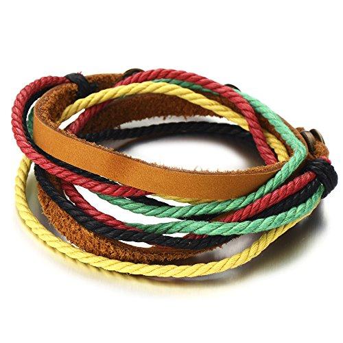 Pulsera Hecha a Mano, Multi-Hilo, Colores Pulsera Cuero Cuerda De Hombre, Tejido Pulsera del Abrigo