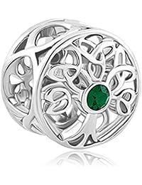 Uniqueen Breloque pour bracelet Pandora en filigrane Motif nœud celtique avec cristal