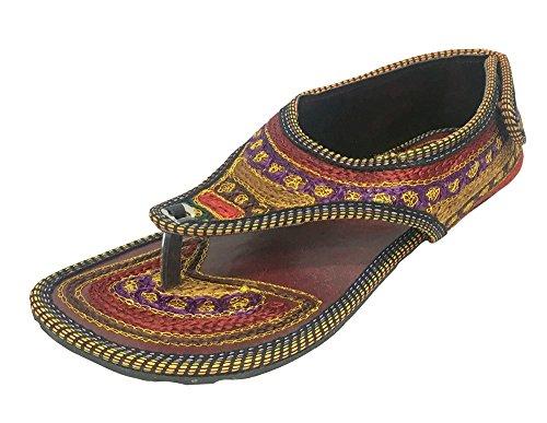 kalra Creations Mujer Tradicional De La India–Funda de piel zapatillas, color Marrón, talla 38,5 EU M