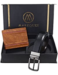 MarkQues Men's Tan And Black Leather Wallet & Belt Combo (STK-2204 NL-0102)