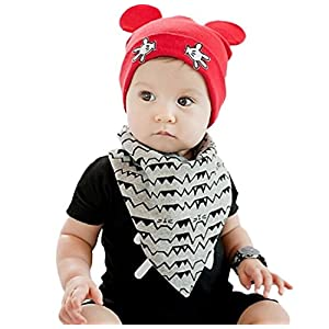 Ziory 1Pcs Red Winter Warm Cotton Beanie Hat Toddler Girls Boys Caps Cute Baby Cartoon bear ear Beanies for Unisex Baby…