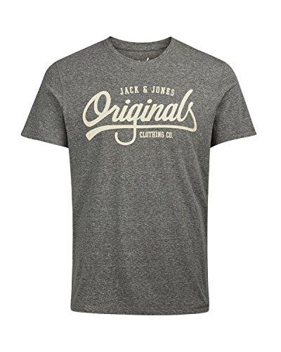 Jack & Jones Herren T-Shirt mit Motiv Kurzarm und Rundhals aus 100% Baumwolle in verschiednen Farben, Größen und Motiven für den Sommer Asphalt-Mel