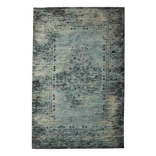 Invicta Interior Vintage Teppich MODERN Art 240x160cm antik blau verwaschen Used Look Baumwollteppich Wohnzimmerteppich Wollteppich