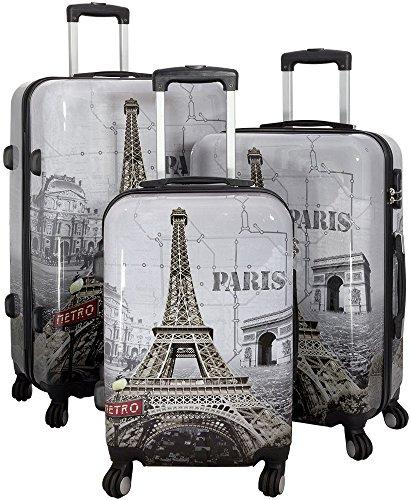 1 Kofferset 3tlg. Hartschale Größen S M L Design Eiffeltrum Paris Material Polycarbonat Trendyshop365