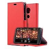 HDRUN Cover Motorola Moto E5 / Moto G6 Play - Lusso Custodia in Pelle PU di Portafoglio Libro Caso con Fessure di Carta Chiusura Magnetica Protettiva Case per Motorola Moto E5 / Moto G6 Play, Rosso