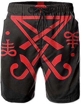 Funny Caps Christian Lucifer Satanic Men's/Boys Casual Shorts Swim Trunks Swimwear Elastic Waist Beach Pants with...