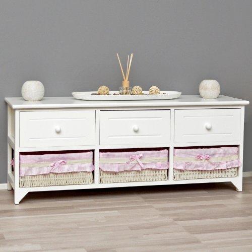 Landhaus Kommode Schrank weiß Sideboard mit 3 Schubladen 3 Körbe Rosa Bezug NEU