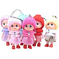 AmaSells 5 Pcs Kids Toys Soft Interactive Baby Dolls Toy Mini Doll For Girls And Boys Hot Phone Pendant,Phone Decor,Kids Gift,Keyring Pendant