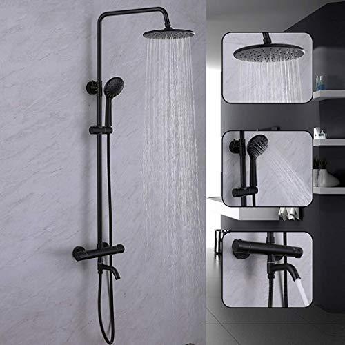 AG Modernes Thermostat-Duschsystem Simplicity Black mit 8-Zoll-Regenduschkopf, 3-Funktions-Handbrause, Verstellbarer Gleitschiene und poliertem Spritzlack