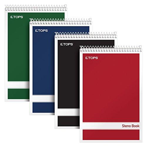 Tops Spirale Steno Bücher, 15,2x 22,9cm, Gregg Rule, weiß Papier, sortiert Abdeckungen, 80Blatt pro Buch, 4Bücher Pro Pack (80220) (Tops Spiral Steno-bücher)
