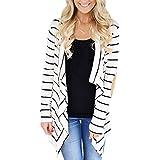Women Coat New Hot Sale Fashion Christmas Women Stripe Casual Long Sleeve Tops Cardigan Jacket Outwear Plus Size By Neartime (XL, White)