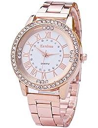Covermason Unisexo Diamante de imitación Inoxidable Acero correa Reloj Oro rosa