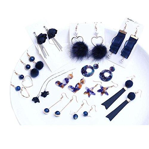 BRICOLAGE Boucles d'oreilles clip oreille matériel à la main bleu boucles d'oreilles accessoires Kit