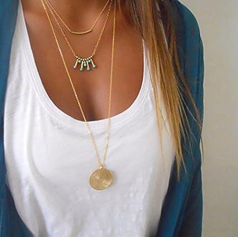 Aukmla ras du cou Colliers Doré dégradé et barre en alliage de long collier tour de cou pour les femmes et les filles