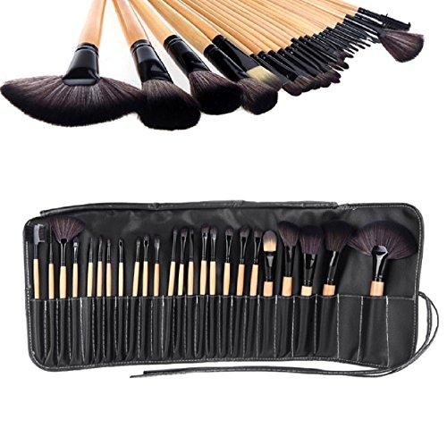 24 tlg. Professionelle Kosmetik Pinsel Makeup Brush Schminkpinsel Set Beige Holz