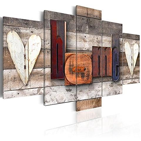 Wandbilder Home 200x100 cm 5 Teilig   Leinwandbilder   Vlies Leinwand   Bilder   Wand   Bild   Wandbild   Kunstdruck   Wanddeko   Haus Holz Herzen Liebe Vintage Retro   DKC0063a5XL