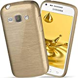 moex Samsung Galaxy Core Plus | Hülle Silikon Gold Brushed Back-Cover TPU Schutzhülle Ultra-Slim Handyhülle für Samsung Galaxy Core Plus Case Dünn Silikonhülle Rückseite Tasche