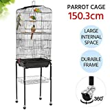 Yaheetech Rolling Large Bird Cage for Finch Budgie Lovebird Parrotlet Canary Medium Cage Cockatiel Quaker Parrot Sun Parakeet Green Cheek Conure with Perch Stand and Wheels