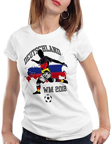 style3 WM 2018 Deutschland Damen T-Shirt Fußball Weltmeisterschaft Trikot Germany, Farbe:Weiß, Größe:XS