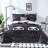 DOTBUY Bettbezug Set, 3 Stück Super Weiche und Angenehme Mikrofaser Einfache Bettwäsche Set Gemütlich Enthalten Bettbezug & Kissenbezug Betten Schlafzimmer (135x200cm, Schwarz - Panda)