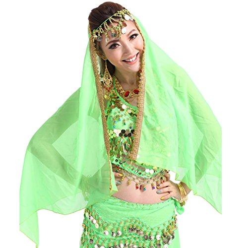 Loveble Danse du ventre Costume Lady en mousseline de soie d'or Garniture Veil Châle Visage Foulard Feu vert