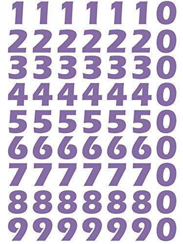 das-label Zahlen Design NO.2 (klein) | Lavendel Vinyl matt | Selbstklebende gestanzte Zahlen | zum Basteln Scrapbook | Sticker | Aufkleber | zum Beschriften