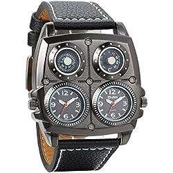 Avaner Reloj de Pulsera Grande Punky Militar Deportivo para Hombres, Brújula y Termómetro Decorativos Ancha Correa de Cuero Negro, Friki Reloj de Piloto 2 Zona de Horarios