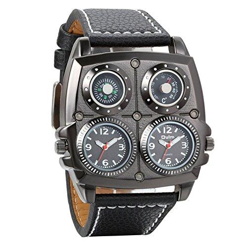 Reloj con brújula decorativa y termómetro