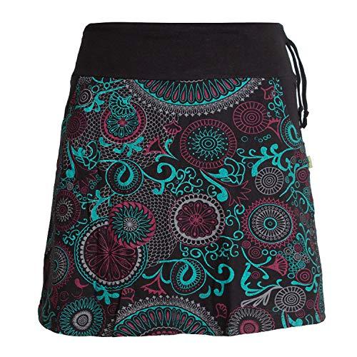 Vishes - Alternative Bekleidung - Kurzer Damen Baumwoll-Rock Bunt mit Mandalas und Blumen Bedruckt schwarz 38