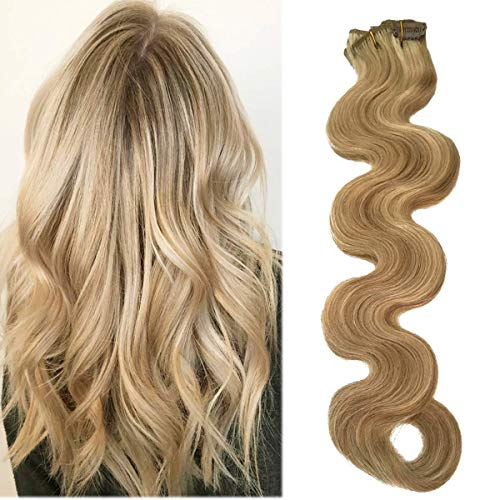 22 Zoll Long Wavy Blonde Balayage Clip Hair Extensions Real Human Hair 70grams 7 Stück Soft Heat Resistant Beige Blonde with Bleach Blonde Highlights Curly Clip in Extensions(22 Zoll,18-613) -