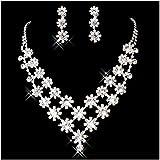 Bling Bling, motivo elegante con cristalli trasparenti da sposa Esclusivo Set di gioielli con orecchini e collana con ciondolo